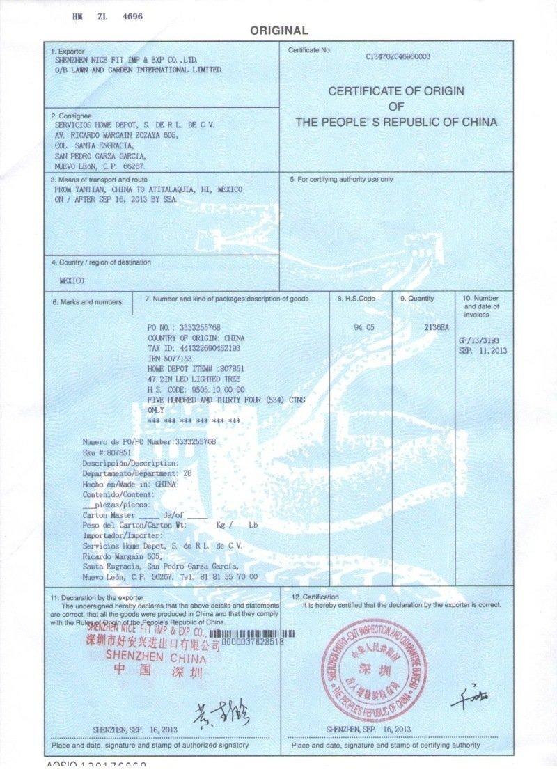 China Certificate of Origin   CFC